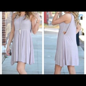 Lavender Lilac Baby Doll Cut Out Dress